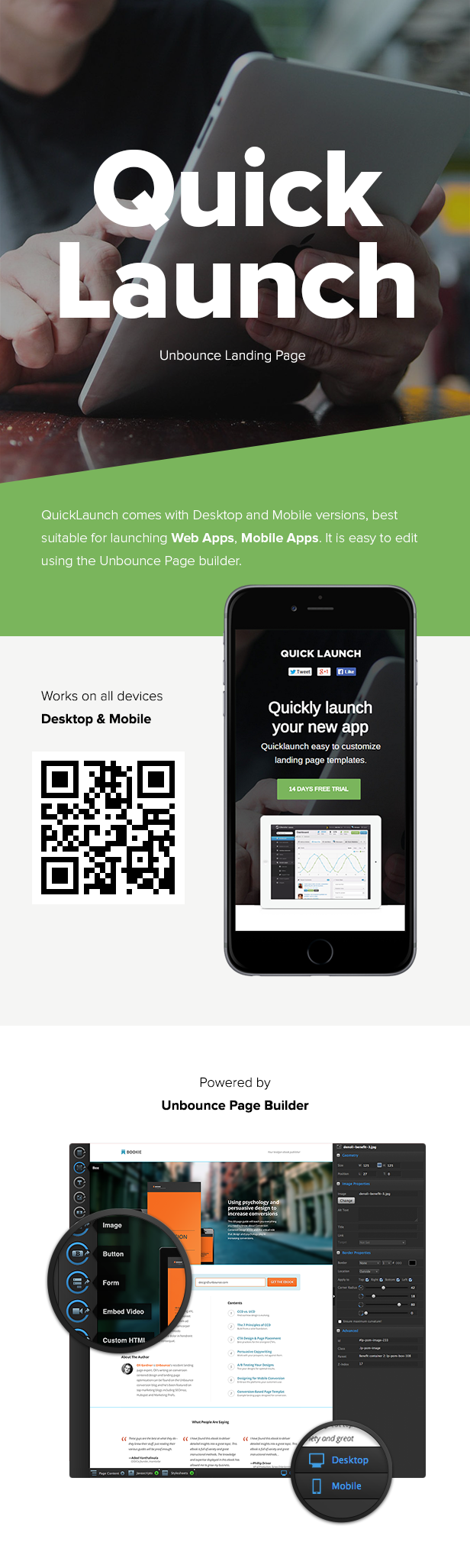 QuickLaunch - Responsive Unbounce Landing Page