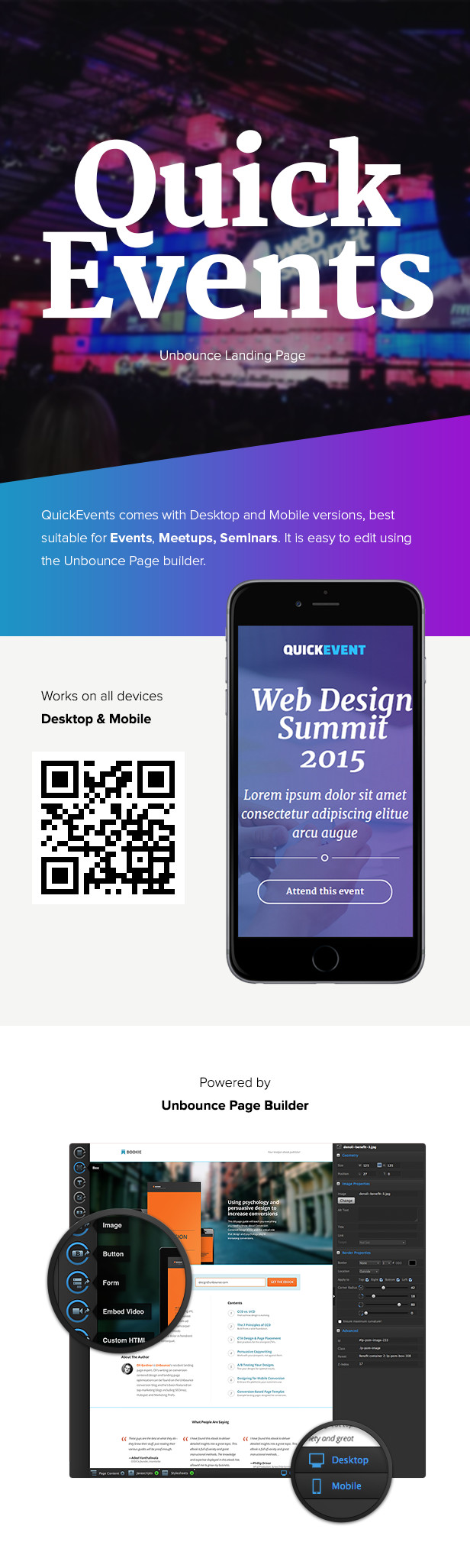 QuickEvents Responsive Unbounce Landing Page